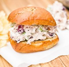CHICKEN CRANBERRY SALAD ~ 3 c. cooked chicken, shredded or cut in small c. light sour c. plain greek c. pecans, c. salt (or to t.croissants or buns for sandwich Cranberry Salad, Cranberry Recipes, Cranberry Chicken, How To Cook Chicken, Cooked Chicken, Salad Chicken, Mayo Chicken, Sandwiches, Gourmet