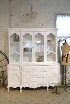 Painted Cottage Chic Shabby White Romantic by paintedcottages White Furniture, Shabby Chic Furniture, Painted Furniture, Furniture Redo, Upholstered Furniture, Shabby Chic Cottage, Shabby Chic Style, Romantic Cottage, Farmhouse China Cabinet