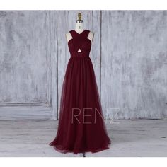 2017 Wine Mesh Bridesmaid Dress, V Neck Wedding Dress, Open Back Prom... ($128) ❤ liked on Polyvore featuring dresses, gowns, long bridesmaid dresses, long gown, v neck prom dress, a line gown and a line dress