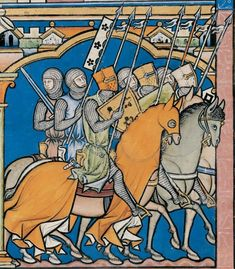 Illustration of medieval soldiers Medieval Books, Medieval World, Medieval Weapons, Medieval Knight, Medieval Manuscript, Medieval Art, Medieval Fantasy, Illuminated Manuscript, Medieval Paintings