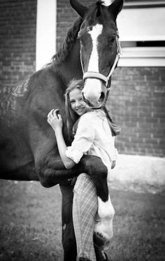 Adorable pic except for the fact she didn't clean the disgusting saddle mark off of him..wow