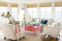 Beachy Family Room - Colorful Beach House Decorating Ideas - Country Living