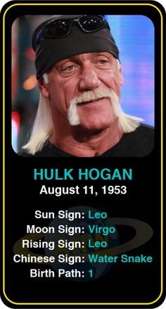 #Famous #WWE #Wrestlers: Hulk Hogan - Check out more famous WWE wrestlers here! https://www.astroconnects.com/galleries/celeb-featured-galleries/famous-wwe-wrestlers #astrology #wrestling #hulkhogan