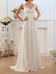 Elegant Chiffon Wedding Dress With French Lace Cap Sleeves - Hochzeit Plus Size Bridesmaid, Maxi Bridesmaid Dresses, Plus Size Wedding, Prom Dresses, Formal Dresses, Summer Dresses, Casual Dresses, Chiffon Dresses, Graduation Dresses
