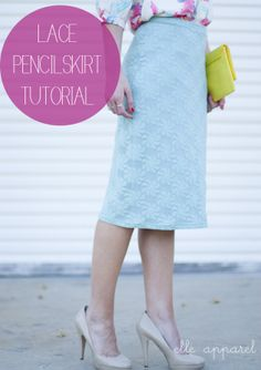 Mint Lace Skirt Tutorial: Elle Apparel - it will be a while before I could wear it but it was such a cute project I had to pin it!