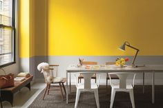 Décor do dia: Sala de jantar bicolor amarela e cinza (Foto: Reprodução)