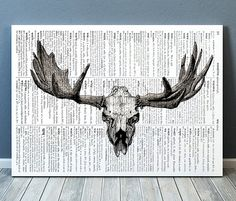 Amazing Elk skull print. Gorgeous Anatomy decor for your home and office. Adorable Gothic poster. Pretty contemporary Medical print.    SIZES: A4