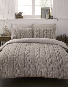 #bedding Cable Knit Duvet Cover Set Single