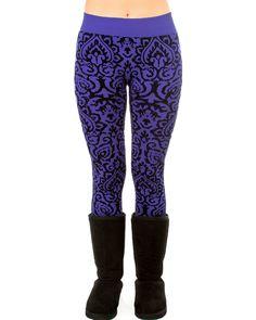 Flocking Fleece Lined Leggings In Purple