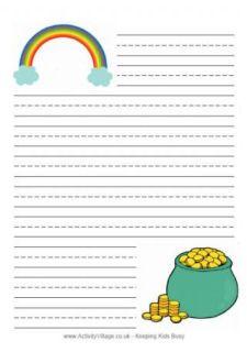 Summer lined writing paper set of 4 kindergartenklub leprechaun writing paper st patricks day leprechaun poster maxwellsz