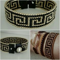 Bead loom Bracelet-Golden black Greek pattern by VatArt - Bracelets Jewelry Bead Embroidery Patterns, Embroidery Bracelets, Bead Loom Bracelets, Beaded Bracelet Patterns, Bead Loom Patterns, Jewelry Patterns, Beaded Earrings, Beading Patterns, Silver Bracelets