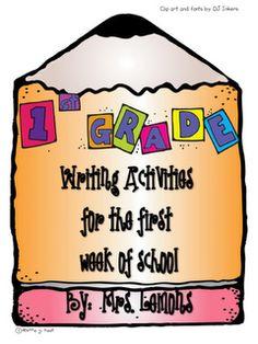First Grade writing activities for beginning of school 1st Day Of School, Beginning Of The School Year, School Fun, School Stuff, School Ideas, Teaching Writing, Writing Activities, Writing Ideas, Teaching Ideas