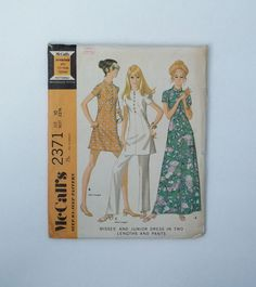 Vintage McCall's sewing pattern 2371 size 10 1970 dress and pants band collar by ResourcefulGoods on Etsy