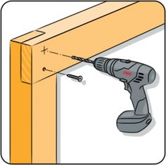 Do you need to drill a hole at a specific angle? Then you can make a wooden drilling accessory with an edge at the same angle. Hold the drill against the angled edge, and then you can be sure you're drilling at the right angle. Sierra Circular, Wooden Plugs, Pergola Decorations, Pergola Attached To House, Roof Panels, Work Tools, Diy Wood Projects, Wooden Handles, Wooden Diy