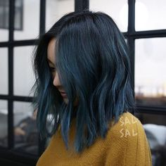 145 stunning hair color trends for girls – page 1 Short Blue Hair, Dark Blue Hair, Blue Ombre Hair, Navy Hair, Blue Hair Balayage, Blue Tips Hair, Denim Blue Hair, Midnight Blue Hair, Dyed Hair Blue