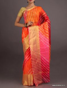 Gitika Colorful Broad Gold Border #LehariyaSilkSaree