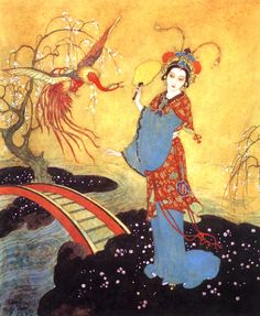 Princess Badoura, a tale from the Arabian Nights, illustration by Edmund Dulac Edmund Dulac, Baby Nursery Art, Art Asiatique, Art Vintage, Art Japonais, Art Et Illustration, Japanese Illustration, Fairytale Art, Arabian Nights