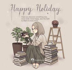 "Selamat berlibur 🍀 and hope your holiday preoccupied with something worthwhile and satisfying. Buat adek"" yg mau UNBK/Otw Sbmptn ,… ca. Hijab Drawing, Islamic Cartoon, Anime Muslim, Hijab Cartoon, Islamic Girl, Islamic Inspirational Quotes, Islamic Quotes, Muslim Girls, Cute Friends"