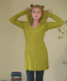 Hoodie Dress Long Sleeve Faux Wrap V Neckline Yoga Casual Exposed Seams - (More Colours) Jersey -  XLarge - Made to Order