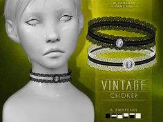 Vintage choker by Blahberry Pancake for The Sims 4