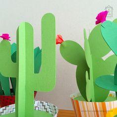 Paper Cactus Na Casa da Joana - 5 modelos coloridos e divertidos de cactos de papel. :) Uma ótima opção para a decoração :: www.nacasadajoana.com.br Paper Cactus, Paper Plants, Origami, Halloween Arts And Crafts, Mexican Party, Yoshi, Mexico, Baby Shower, Craft Ideas