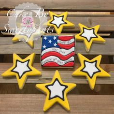 Army themed sugar cookies.  Featuring Home of the free because of the grave, Stars and Stripes cookie