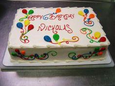 New birthday cake buttercream decorating ideas Ideas Buttercream Decorating, Cake Decorating Designs, Easy Cake Decorating, Cake Decorating Techniques, Decorating Ideas, Balloon Birthday Cakes, Birthday Sheet Cakes, Cake Birthday, Cake Icing