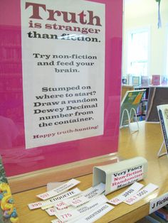 Truth is stranger that fiction. Non fiction display idea
