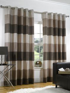 Riviera - Chocolate Ready Made Curtains (50% OFF!) from £23.64 [An astonishing Chocolate Brown Horizontal Striped Fully Lined Eyelet Curtain] http://www.ukcurtainsandinteriors.co.uk/acatalog/Riviera-Chocolate-readymade-curtain.html