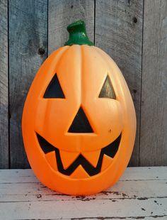 jackolantern blow mold large orange by relicsandrhinestones 2800 - Large Plastic Pumpkins