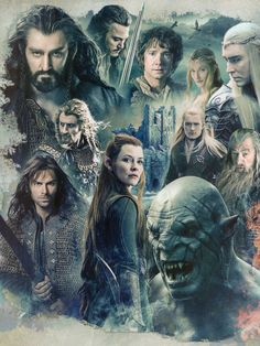 Thorin, Bard, Bilbo, Galadriel, Thranduil, Fili, Kili, Tauriel, Legolas, Gandalf, and Azog