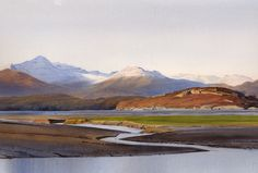 Wyddfa Ynys Giftan, Limited Edition Print (Giclee) from an original watercolour painting by Rob Piercy Learn Watercolor Painting, Watercolor Painting Techniques, Watercolor Artists, Watercolor Landscape, Watercolour Paintings, Landscape Drawings, Landscape Art, Landscape Paintings, Beautiful Paintings