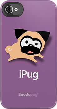 "Tugg the Pug iPhone and iPod Cases (Purple) by boodapug. File this under ""absolutely necessary."""