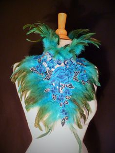 Feather and Lace High Neck Collar Feather by DelltonCouture