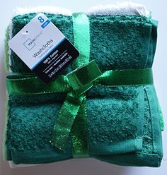 Wash Cloth Bundle  Green and White  8 Count >>> Click affiliate link Amazon.com on image for more details.