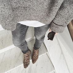 Gray on gray with statement-making leopard-print booties.