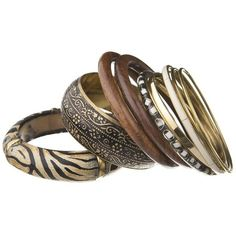 African Bangle Stack ($26) ❤ liked on Polyvore