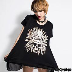 【Blackwing】暗黑燙金印第安骷髏頭黑色日本棉TEE