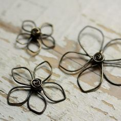 3 Wire Flowers Solid Brass Pointed Petals Mix Assortment - Handmade Wirework Connector, Charm, or Pendant
