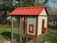 Portable chicken coop.  The last thing I need is more animals, but one day - I would like to have a couple chickens and I think these portable coops are great!  And a perfect fit into a garden area!