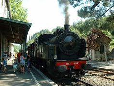 Petite ville française du département du Gard dans la région du Languedoc-Roussillon, Anduze compte 3 384 habitants. - France, le Gard avec le Train vapeur une 030 T, en gare d'Anduze Auteur : Roger-11