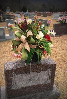 Résultat d'images pour Flower saddle for tombstones Grave Flowers, Cemetery Flowers, Funeral Flowers, Silk Flowers, Cemetery Vases, Funeral Floral Arrangements, Large Flower Arrangements, Christmas Arrangements, Cemetary Decorations