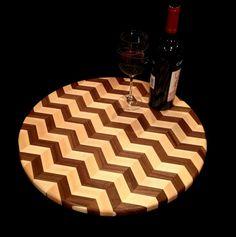 Lazy Susan in chevron pattern, wood cutting board