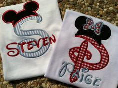 Custom Applique Mickey Initial  shirt perfect for Disney vacation, birthday, beach, summer, etc.. $24.00, via Etsy.