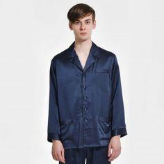 メンズシルクパジャマナイトTシャツ コントラストパイピング
