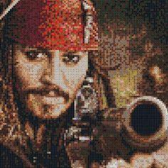 Jack Sparrow perler bead art PhotoPearls portrait (10000 beads, 50x50cm) by mariathechain
