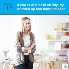 #TipTuesday  You've heard the talk about chairs: they constrict circulation, cause tightening of the muscles, send your glutes to sleep – but if you're not at the type of progressive company that encourages walk-along meetings and standing desks, what's to be done? The simplest fix is to stand up occasionally: just getting to your feet for a second, bracing your abs and sitting back down is enough to undo some of the damage. Try to do this every 15 minutes.