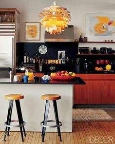A Kitchen With Vintage Artichoke Lamp Loft Apartment Design
