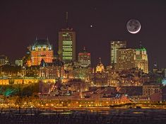 The Moon and Venus shine down on Quebec CIty (courtesty of NASA Photo of the Day). Old Quebec, Quebec City, City Ville, Skyline Image, Chateau Frontenac, Astronomy Pictures, Venus And Mars, Nasa Photos, Image Nature