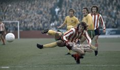 Mick Channon of Southampton is beaten to the ball by Jeff Butler of Norwich City during their fourth round League Cup football match at The Dell on November Norwich City won Get premium, high resolution news photos at Getty Images Southampton Football, Southampton Fc, Norwich City Fc, Football Match, Butler, Beats, Running, 1970s, Sports
